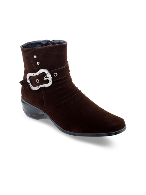 SHUZ TOUCH Women Brown Solid Mid-Top Flat Boots