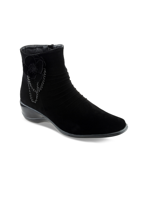 SHUZ TOUCH Women Black Solid Mid-Top Flat Boots