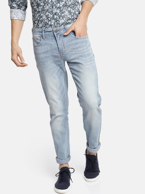 AMERICAN EAGLE OUTFITTERS Men Blue Skinny Fit Mid-Rise Clean Look Stretchable Jeans