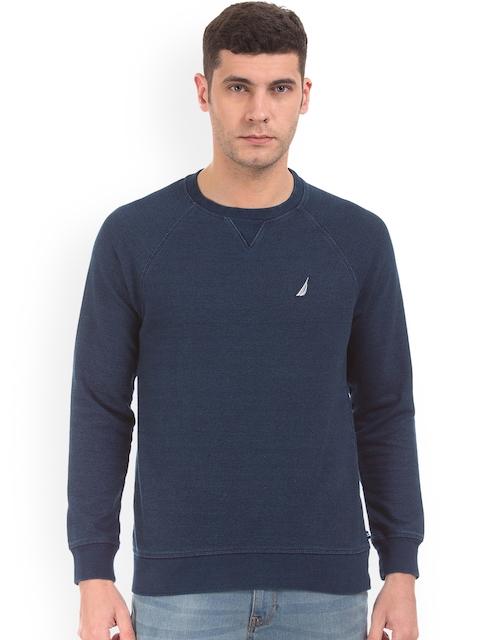 Nautica Men Blue Solid Sweatshirt