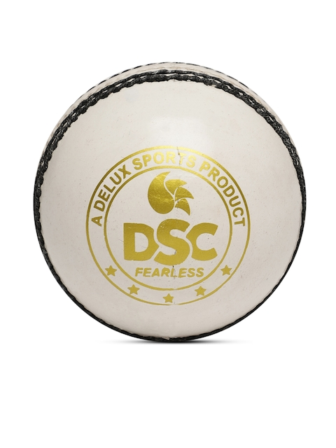DSC White Leather Red Dot Cricket Ball