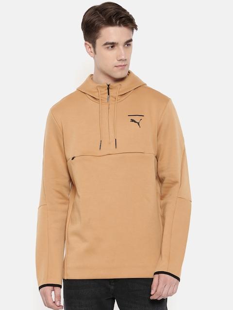 Puma Men Camel Brown Solid Evo Core Savanh Sweatshirt