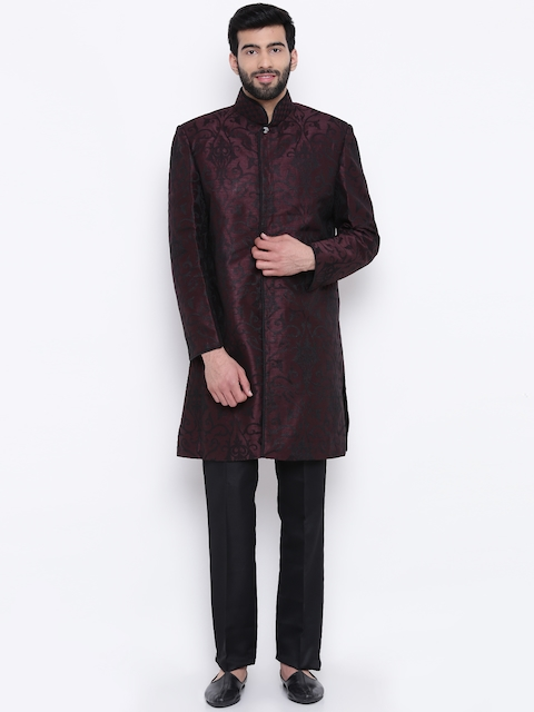 Manu Burgundy & Black Woven Design Sherwani