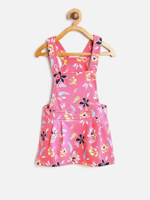 United Colors of Benetton Girls Pink Floral Print Pinafore Dress