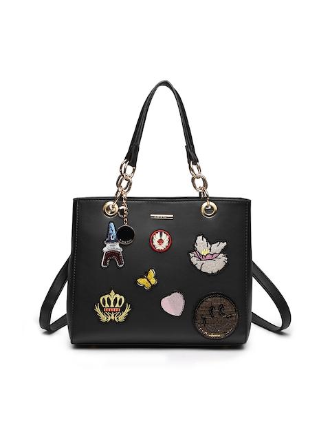 Diana Korr Black Self Design Handheld Bag