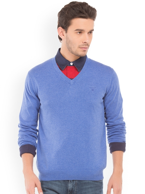 GANT Men Blue Solid Pullover