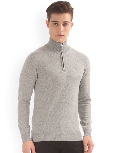 GANT Men Grey Solid Pullover