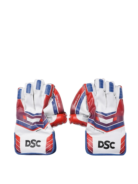 DSC Unisex White, Red & Blue Condor Glider Wicket Keeping Gloves