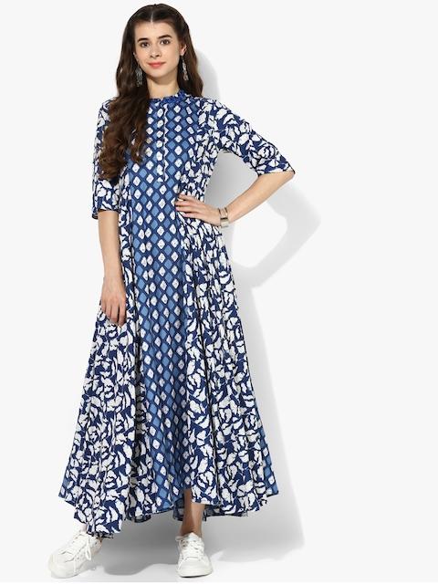 Sangria Women Blue Printed A-Line Dress