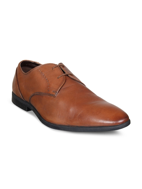 Clarks Men Tan Brown Leather Formal Derbys