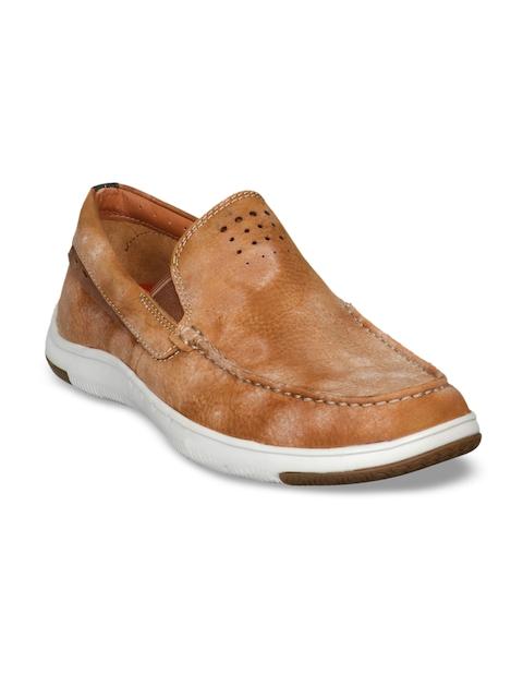 Clarks Men Tan Loafers