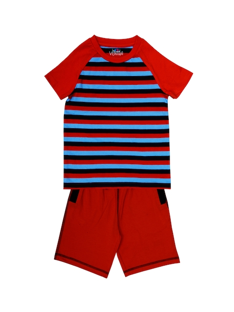 ventra Boys Red & Blue Striped Night suit