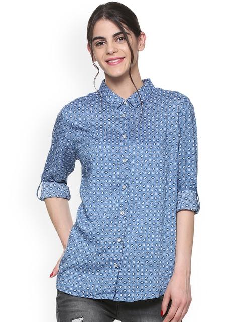 Allen Solly Woman Women Blue Regular Fit Printed Casual Shirt