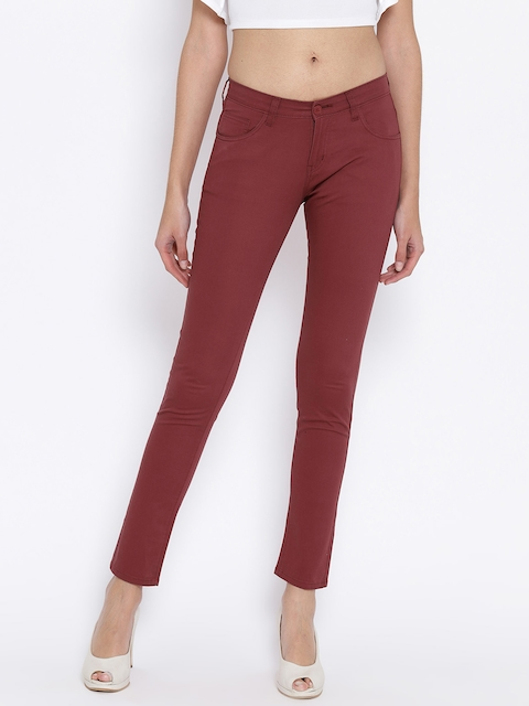 Fashion Cult Women Maroon Slim Fit Solid Cigarette Trousers