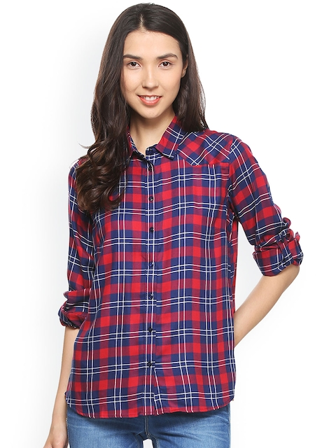 Allen Solly Woman Women Blue & Red Regular Fit Checked Casual Shirt