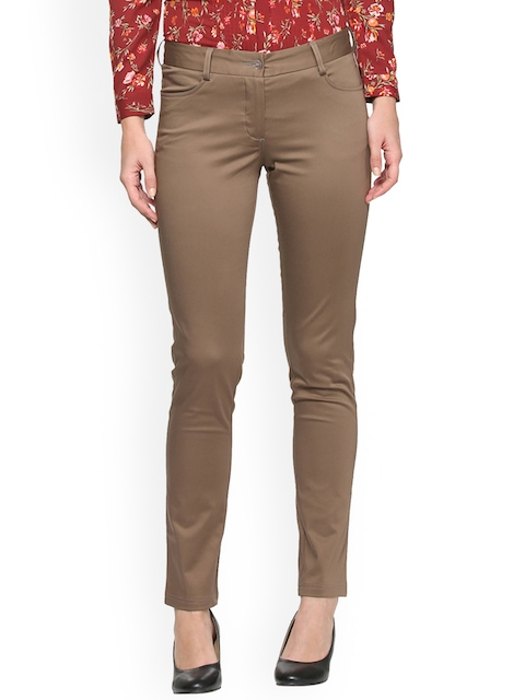 Allen Solly Woman Women Brown Regular Fit Solid Cigarette Trousers