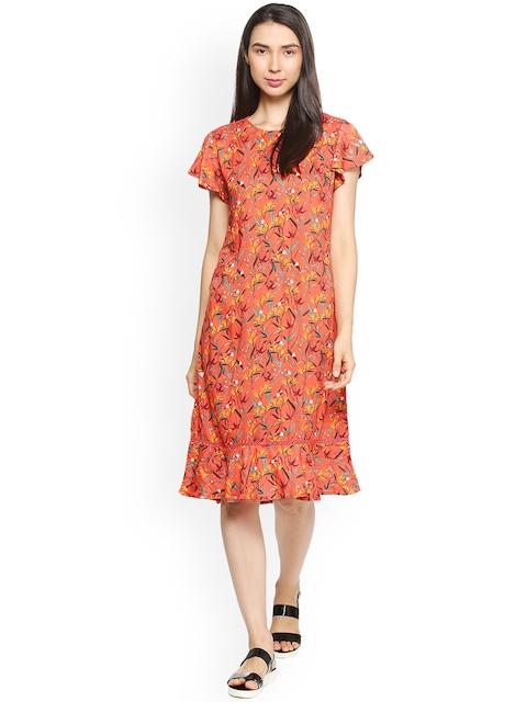 Allen Solly Woman Orange Printed A-Line Dress