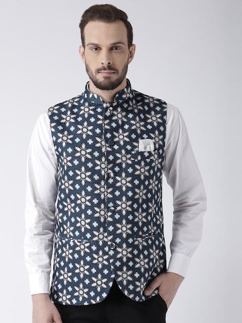 Hangup Men Blue & White Floral Print Nehru Jacket