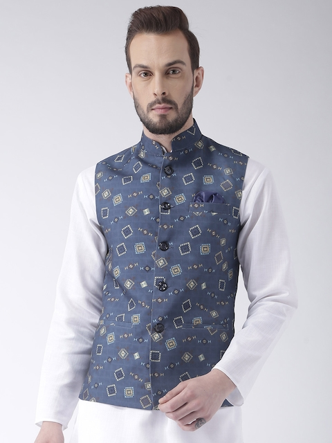 Hangup Men Blue Geometric Print Nehru Jacket