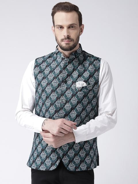 Hangup Men Black & White Ethnic Print Nehru Jacket