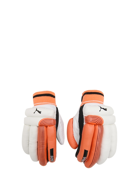 Puma Men Coral Red & White EVO 6 Batting Gloves
