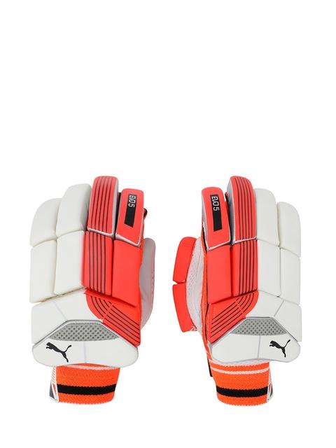 Puma Men Coral Red & White EVO 5 Batting Gloves