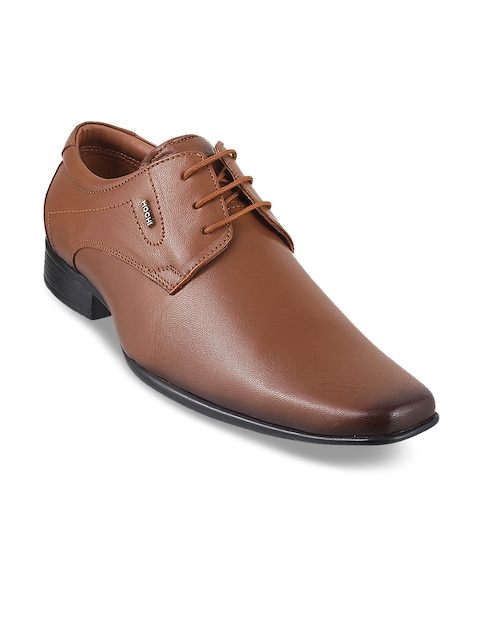 Mochi Men Tan Brown Formal Leather Derbys
