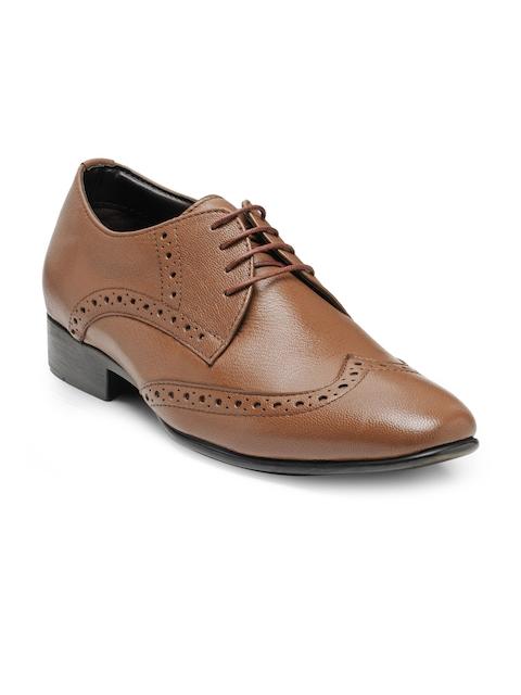 Teakwood Men Tan Brown Leather Formal Derbys