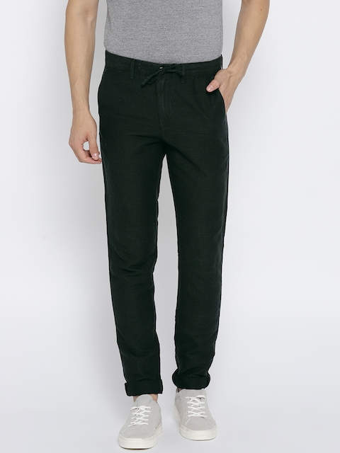 Jack & Jones Men Green Slim Fit Self Design Regular Trousers