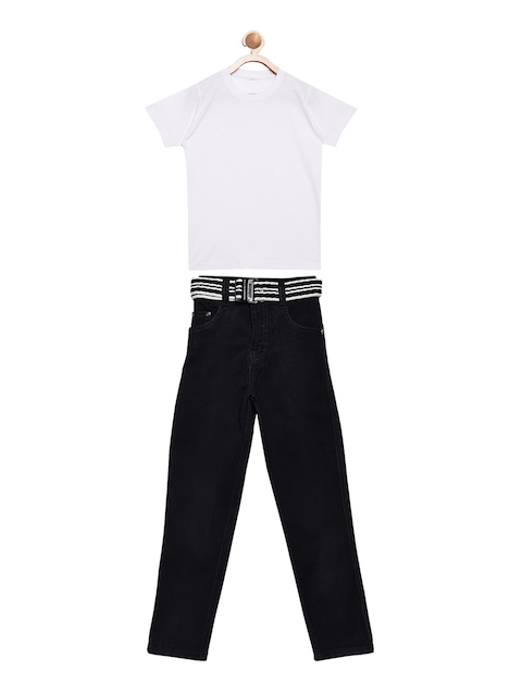 FirstClap Unisex White & Black Solid T-shirt with Jeans