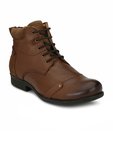 Alberto Torresi Men Tan Brown Textured Leather High-Top Flat Boots
