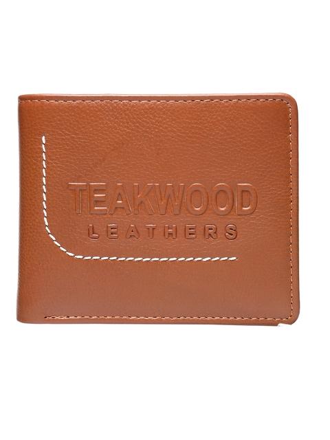 Teakwood Leathers Men Tan Solid Two Fold Wallet