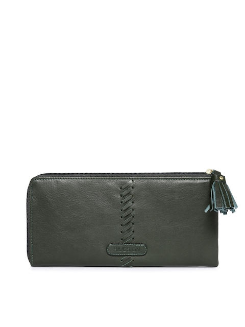 Hidesign Women Green Solid Zip Around Leather Wallet