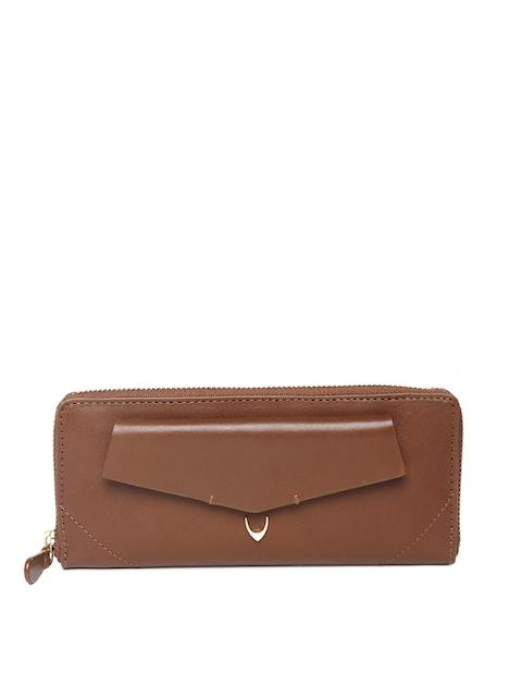 Hidesign Women Tan Solid Zip Around Leather Wallet