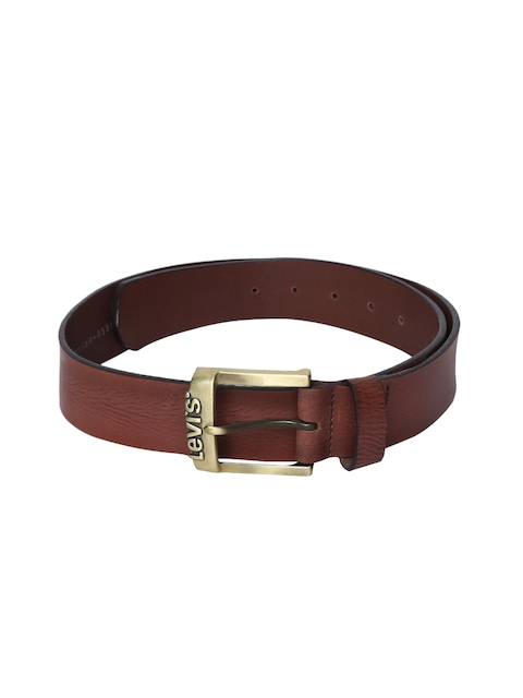 Levis Men Brown Textured Leather Belt