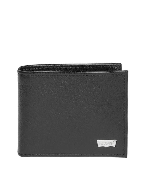 Levis Men Black Solid Two Fold Leather Wallet