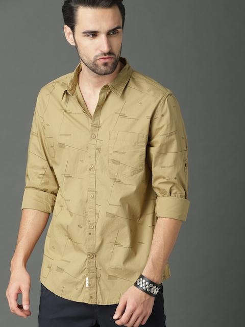 Roadster Men Beige Regular Fit Printed Casual Shirt