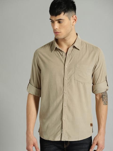 Roadster Men Beige Regular Fit Solid Corduroy Casual Shirt