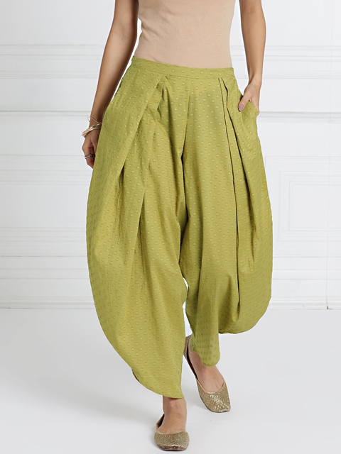 all about you from Deepika Padukone Green Self-Design Harem Pants