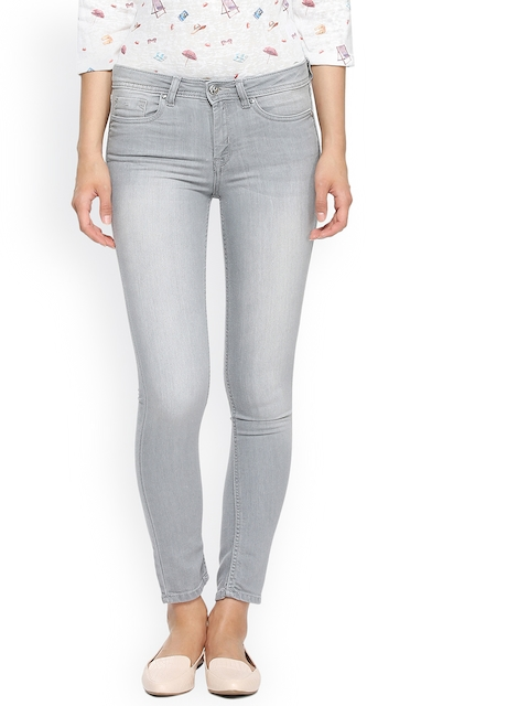 Allen Solly Woman Grey Skinny Fit Mid-Rise Clean Look Jeans