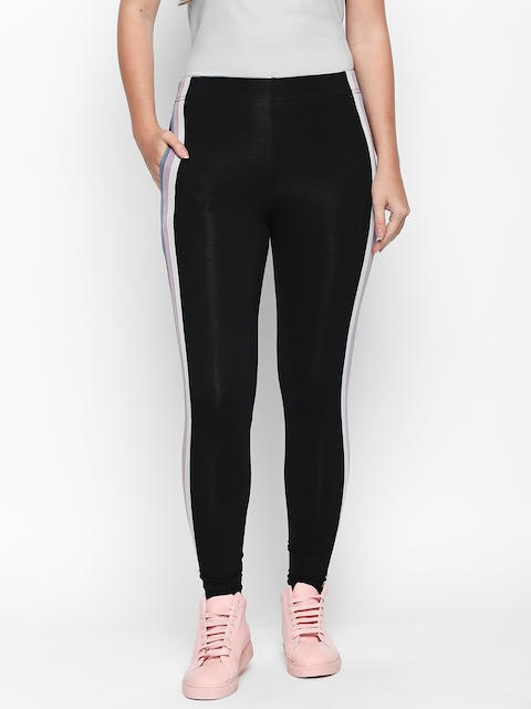 ANWAIND Women Black Solid Leggings