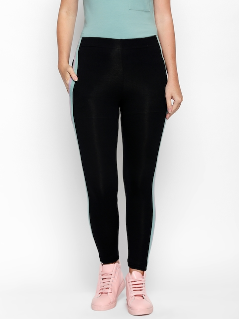ANWAIND Black Panelled Ankle-Length Leggings