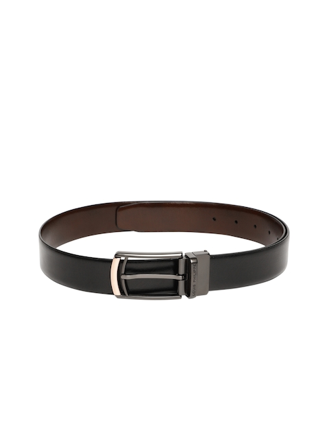 Louis Philippe Men Black Solid Reversible Belt