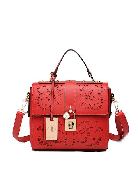 Stella Ricci Red Self Design Handheld Bag