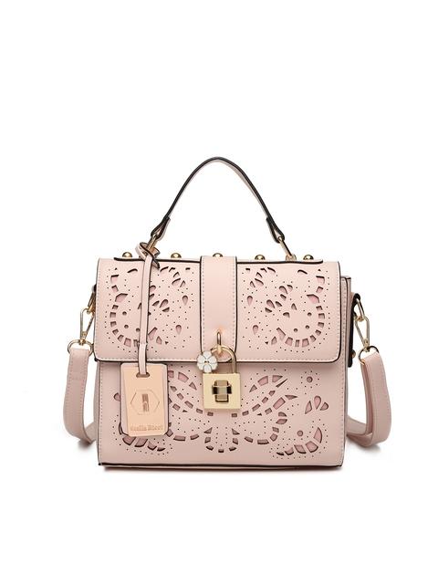 Stella Ricci Pink Self Design Handheld Bag