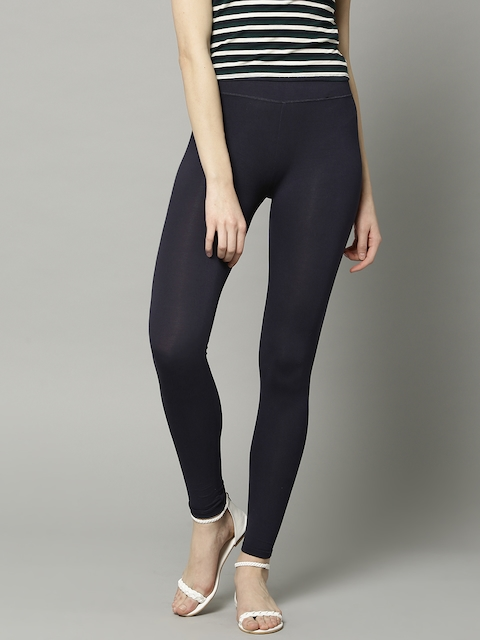 Marks & Spencer Women Navy Blue Solid High-Rise Leggings
