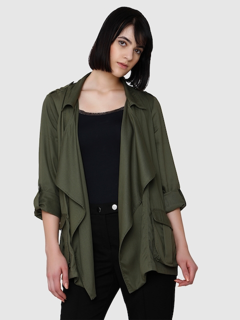 Vero Moda Women Olive Green Solid Tailored Jacket
