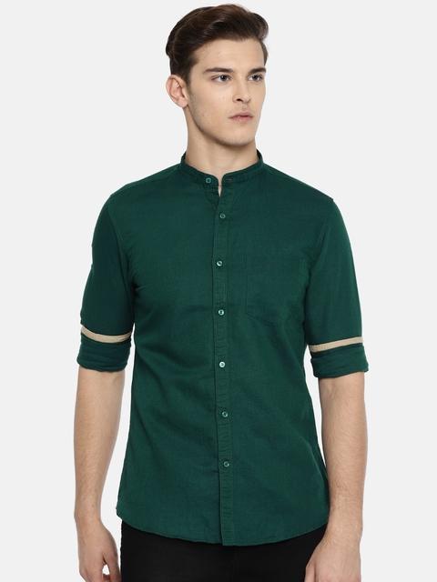 Killer Men Green Slim Fit Solid Casual Shirt