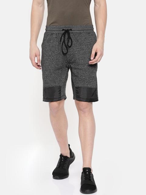 SKULT by Shahid Kapoor Men Charcoal Solid Loose Fit Regular Shorts