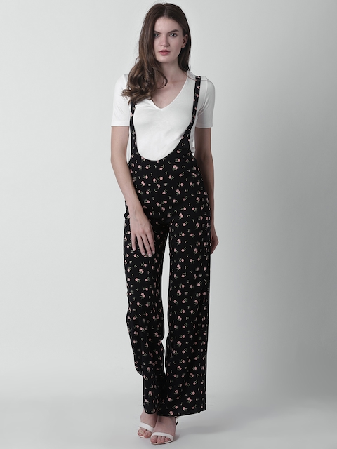 FOREVER 21 Women Black Printed Dungarees